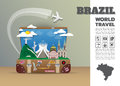 Brazil Landmark Global Travel And Journey Infographic luggage.
