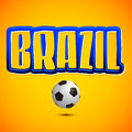 Brazil lettering and soccer ball icon eps available Stock Photos