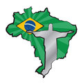 Brazil map of with flag and statue of jesus christ Stock Photography