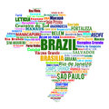 Brazil map and words with larger cities Stock Image
