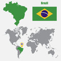 Brazil map on a world map with flag and map pointer. Vector illustration