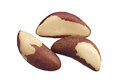 Brazil nuts closeup isolated on white background Stock Photo