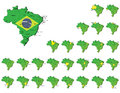 Brazil provinces maps a set of Royalty Free Stock Photography