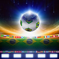 Brazil soccer abstract sports background ball planet earth globe flag of bright light stars in night sky elements of Stock Image