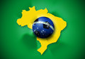 Brazil soccer ball flag and map for make the brazilian Royalty Free Stock Photos