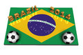 Brazil soccer balls on the flag of for soccer world cup Stock Photo