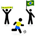 Brazil soccer concept illustration showing a couple of fans and a player for Royalty Free Stock Image