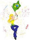 Brazil Soccer Fan Royalty Free Stock Image