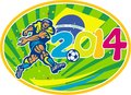 Brazil soccer football player kicking ball illustration of a with brazilian flag in background with numbers set inside oval done Stock Image