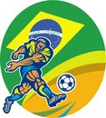 Brazil soccer football player kicking ball retro illustration of a with brazilian flag in background set inside oval done in style Royalty Free Stock Photo