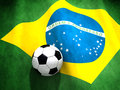 Brazil soccer world cup brazilian s national flag with a ball Stock Images