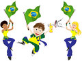 Brazil sport fan with flag and horn vector Royalty Free Stock Images