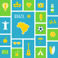 Brazil Sports and Recreation Flat Design Poster Royalty Free Stock Photo