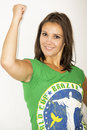 Brazil supporter pretty on a white background Royalty Free Stock Photo