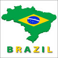 Brazil territory with flag texture. Royalty Free Stock Images