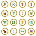 Brazil travel icons circle
