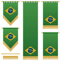 Brazil wall hangings green with gold tassel fringing isolated on white Royalty Free Stock Photography