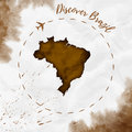 Brazil watercolor map in sepia colors.