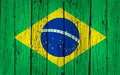 Brazil wood background grunge with brazilian flag painted on aged wooden wall Royalty Free Stock Photo