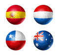 Brazil world cup group b flags on soccer ball d balls with teams football isolated white Stock Images