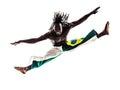 Brazilian  black man dancer dancing capoiera Royalty Free Stock Photo