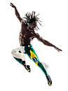 Brazilian black man dancer dancing jumping one on white background Stock Images
