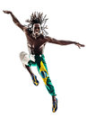 Brazilian black man dancer dancing jumping silhouette one on white background Royalty Free Stock Photo