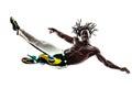 Brazilian  black man jumping dancing capoeira dancer   silhouett Royalty Free Stock Photo