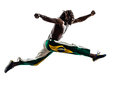 Brazilian black man running jumping silhouette one on white background Stock Photography