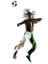 Brazilian black man soccer player heading football silhouette one on white background Stock Image
