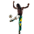 Brazilian black man soccer player juggling football one on white background Stock Photos