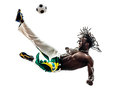 Brazilian black man soccer player kicking football one on white background Royalty Free Stock Photography