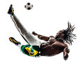 Brazilian black man soccer player kicking football silhouette one on white background Stock Image