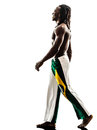 Brazilian black man walking smiling silhouette one on white background Stock Photos