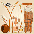 Brazilian capoeira music instruments such as berimbau atabaque pandeiro reco reco Royalty Free Stock Photo