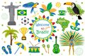 Brazilian carnival icons flat style. Brazil country travel tourism. Collection of design elements, culture symbols with