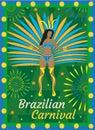 Brazilian carnival Rio de Janeiro poster, invitation. Brazil samba dancers, women dance in costumes with feathers