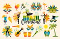 Brazilian Carnival. Set of icons. Vector. Royalty Free Stock Photo