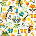 Brazilian Carnival. Vector seamless pattern. Royalty Free Stock Photo