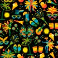 Brazilian Carnival. Vector seamless pattern. Royalty Free Stock Photo
