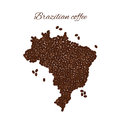 Brazilian coffee. Map of Brazil created from coffee beans isolat