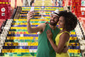 Brazilian couple taking a selfie photo in rio de janeiro brazil Royalty Free Stock Photos