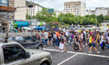 Brazilian cross the street of business centre in Santa Teresa Royalty Free Stock Photo