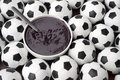 Brazilian culture acai and football soccer balls on the table features a bowl of fresh surrounded by Stock Photography