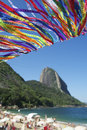 Brazilian flag bunting red beach sugarloaf rio brazil wish ribbons at praia vermelha at mountain pao de acucar de janeiro Stock Photo