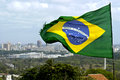 Brazilian flag and skyline city Recife, Brazil Royalty Free Stock Photo
