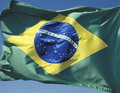 Brazilian flag in the wind Royalty Free Stock Photo