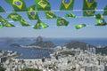 Brazilian Flags Rio de Janeiro Brazil Skyline Royalty Free Stock Photo