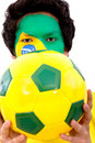 Brazilian football fan Royalty Free Stock Photo