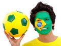 Brazilian football fan Royalty Free Stock Photos